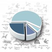 stock photo of formulas  - pie graph with hand - JPG