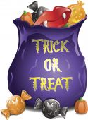 picture of goodies  - Illustration of different Halloween candy in a treat bag - JPG