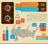 image of population  - Infographics template with people icons and a map of the united states of america - JPG