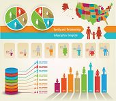 Infographics of family tree and statistics