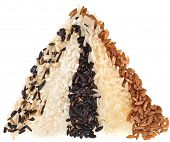 Mixed Rice Surface Hill Close up Macro Texture  isolated on white background