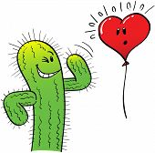 Spiky Cactus and Scared Heart Balloon