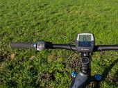 Handlebars Of State Of The Art Electric Powered Mountain Bike