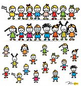 image of playground school  - Set of cute happy cartoon kids - JPG