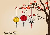 Big traditional chinese lanterns will bring good luck and peace to prayer during Chinese New Year. V