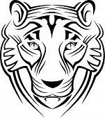 Signo del tigre aislado en blanco