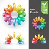 Set of vector design elements 22. Abstract 3D elements.