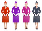 Charming Stewardess Dressed In Uniform And Suitcase With Color Variants. Isolated On White Background.