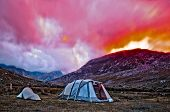 Tents in the valley in Snowdonia