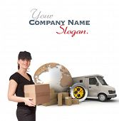 Female Messenger with a background composed of  a world map, packages, a chronometer and a van