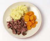 "stock photo of flank steak  - ""London broil"" marinaded flank of beef steak grilled and sliced thinly, then served with mashed potato, boiled sliced carrots and horseradish sauce, from above - JPG"