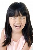stock photo of gril  - Portrait of Happy asian cute gril isolate on white background  - JPG