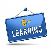 e-learning online internet learning in open school or university virtual education icon button or si