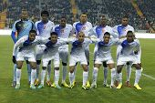 BARCELONA - DEC, 30: Cape Verdean National Team posing before the friendly match between Catalonia and Cape Verde at Olympic Stadium on December 30, 2013 in Barcelona, Spain