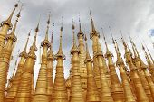 Golden spires of Buddhist temple, Myanmar