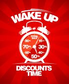 Discounts time. Red sale design with alarm clock.