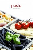 Assorted pastas in wooden box (with easy removable sample text)