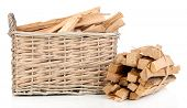 Stack of firewood in wicker basket isolated on white