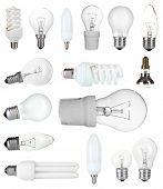 Collage of light bulbs isolated on white