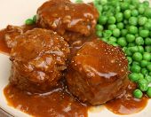 Faggots (traditional meatballs with offal), peas and gravy.