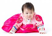 stock photo of hanbok  - Korean Little girl crawling - JPG