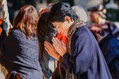 People at Yasaka Shrine in Kyoto