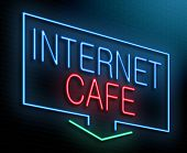 stock photo of internet-cafe  - Illustration depicting an illuminated neon sign with an internet cafe concept - JPG