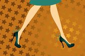 Female legs in blue shoes on a yellow background in stars