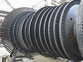 stock photo of generator  - Power generator steam turbine during repair process at power plant