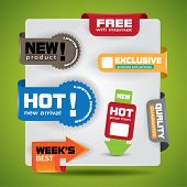 Special offer and warranty labels and stickers in vibrant color variations