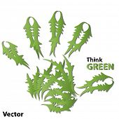 Vector concept or conceptual human or child green ecology hand print symbol  of leafs, isolated on w