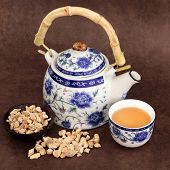 Ginseng herb tea with chinese teapot and cup over brown lokta handmade paper.