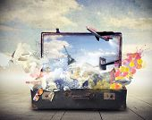 stock photo of old suitcase  - 3d technology - JPG