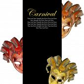 Vintage venetian carnival masks with blank banner