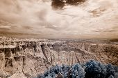 infrared shot of badlands national park, south dakota