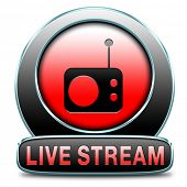 live stream radio music button icon or listen live on air broadcasting songs program