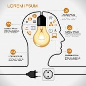 Profile of human head with  lightbulb, icons,  plug, socket, text. Concept of business idea. The fil