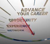 Advance Your Career Speedometer Raise Promotion Job Opportunity