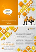 Orange template for advertising brochure with business people