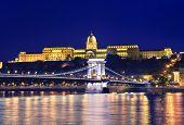 Danube River, Chain Bridge And Buda Castle