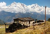View From Jaljala Pass With Chalet On Pastureland And Mount Annapurna - Nepal