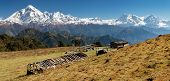 stock photo of nepali  - panoramatic view from Jaljala pass of Dhaulagiri and Annapurna Himal  - JPG