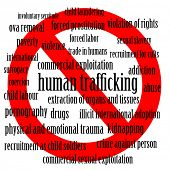 Stop human trafficking - word cloud of human trafficking related words with a stop sign
