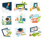 Set of icons. Flat Design. Mobile Phones, Tablet PC, Web and Apps Vector Icons. Marketing and Time M