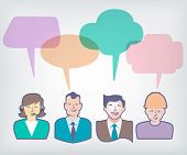 people with colorful speech balloons