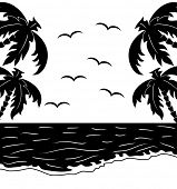 Black and white tropical landscape with palm-trees and seagulls