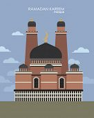 mosque in flat style. vector design. illustration of Eid Mubarak (Happy Eid) background with mosque