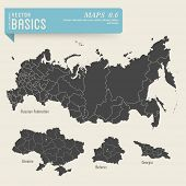vector basics: detailed maps of the Russian Federation, Ukraine, Belarus and Georgia with their admi