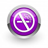 no smoking pink glossy web icon