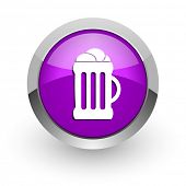 beer pink glossy web icon